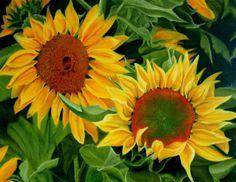 """Sunflower Study -pastel on paper by  JoAnne Tucker  6"""" by 8"""" trivet  www.joannetuckerart.com"""
