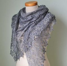 Grey lace knitted shawl with crochet trim