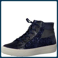 Tamaris Schuhe 1-1-25206-28 bequeme Damen Stiefel, hohe Sneaker, Boots, Sommerschuhe für modebewusste Frau,, Tamaris Trend blau (NAVY GLAM COMB), EU 39 - Stiefel für frauen (*Partner-Link)
