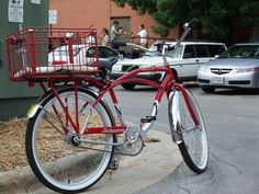 """The Red Schwinn aka """"The Milkman"""" listening to live music in a Broadway St alley."""