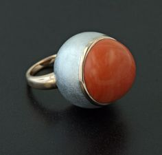 Coral, Aluminum and 18K Rose Gold Ring by James de Givenchy #Taffin #JamesdeGivenchy #Ring