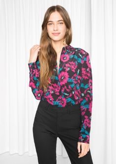 & Other Stories image 1 of Silk Shirt in Fuschia Bloom Print