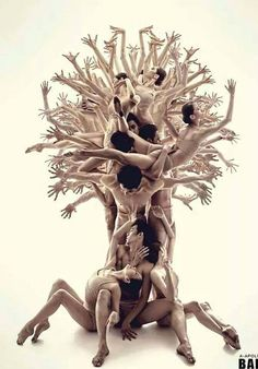 Use marker or ballpoint pen. A tree of dancers with many dancers' hands
