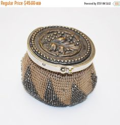 Antique Beaded Coin Pouch - Crochet Coin Purse - hinged bronze silver leaf cover - Brown star- change pouch