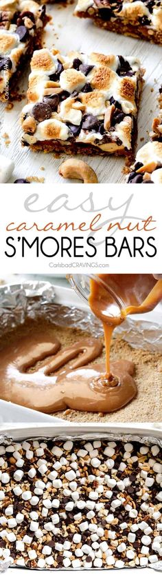 Caramel Nut Smore Bars are my go-to crowd pleasing dessert bar! SUPER easy and crazy delicious - everything you love about smores but with caramel! via Carlsbad Cravings Mini Desserts, Easy Desserts, Delicious Desserts, Dessert Recipes, Yummy Food, Oreo Dessert, Dessert Bars, Smores Bar Recipe, Yummy Treats