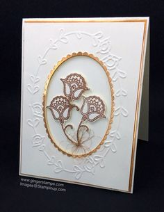 2016  ELEGANT  Paisleys & Posies Photopolymer Bundle143515  $45.00 ,  Pretty Paisleys Textured Impressions Embossing Folder141833 $7.50 , Layer the Copper Foil to the card base.   Use the same Oval Framelit & the slightly larger Scalloped Oval Framelit to cut a frame from a Copper Foil Sheet.    Attach some coils of Copper Metallic Thread around the base of the flowers.