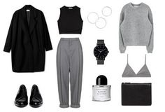 coat / shoes / top / trousers / rings / watch / perfume / sweater / bra / bag