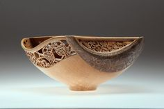 """Wood Art - """"Veer"""" by Joey Richardson.  Beech bowl, turned , carved pierced and textured."""