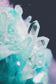 ☽under your spell ☾ Light Blue Aesthetic, Crystal Aesthetic, Aesthetic Colors, Witch Aesthetic, Minerals And Gemstones, Rocks And Minerals, Blue Crystals, Stones And Crystals, Healing Crystals