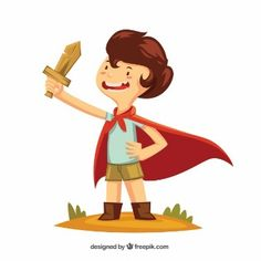 Boy with a wooden sword and a cape