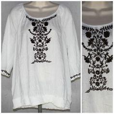 Gauze Blouse Hippie Boho Top XL White Brown Embroidery Gauzy Style Co #gauze #blouse #hippie #boho #top #xl #white #brown #embroidery #gauzy #style&co