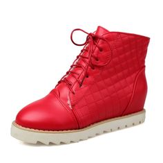 WeiPoot Women's Solid PU High-Heels Lace-up Closed Round Toe Boots *** Check out the image by visiting the link.