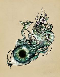 • love art red couple eyes lsd drug green psychedelic blue flowers colors nature peace fish bird brazil owl brasil pintura pássaro pistolitasyrositas •