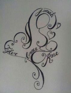 Breastfeeding tattoo with kid's names. I LOVE this!! Most likely will get this in the near future.                                                                                                                                                      More