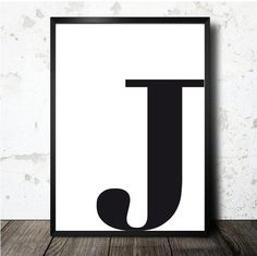 Letter J poster printable in A4. MOnogram initial por decopared