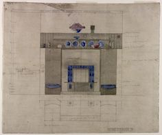 Prospecthill House, Paisley - drawing no. Paisley Drawing, Drawing Interior, Drawing Sketches, Drawings, Charles Rennie Mackintosh, Glasgow School, Art Nouveau, Aesthetic Movement, Architectural Sketches