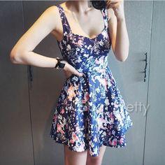 $16.07 Floral Print Dress V Neck Slip Dress Middle Waist Dress - BornPrettyStore.com