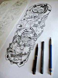 Alice in Wonderland Tattoo Sleeve by on – Autos & Urlaub & Gesundheits & Tattoo Alice In Wonderland Tattoo Sleeve, Alice In Wonderland Drawings, Gesundheits Tattoo, Tattoo Fonts, How To Tattoo, Learn To Tattoo, Tattoo Wave, Marvel Tattoos, Disney Tattoos