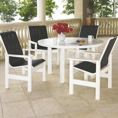 Customize the sling and finish color to match your space. - Telescope Casual Leeward 4-Person Sling Patio Dining Set With Stacking Chairs