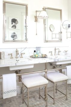 Elegant white bathro  Elegant white bathroom space:  www.stylemepretty...