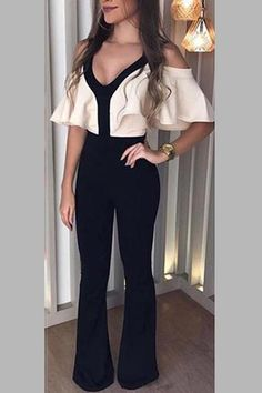 Contrast Binding Ruffle Detail High Waist Jumpsuit - Just Shop Jumpsuit Outfit, Black Jumpsuit, Jumpsuit With Sleeves, Collar Styles, Office Ladies, Fashion Outfits, Womens Fashion, Fashion Clothes, Cheap Fashion