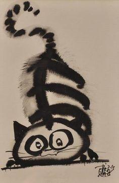 """TIBAY Laszlo (Né en 1962) - """"CHAT JOUEUR"""" - Dessin à l'encre de Plus"""