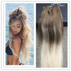 33.11$  Buy here - http://aiixj.worlditems.win/all/product.php?id=32698403214 - Full Shine Balayage Color One Piece Clip in Extensions 50g Brazilian Remy Hair Clip Human Hair Extensions Ombre Color 8 60