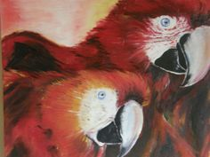 Rote Ara,Öl,Gemälde, Papageien, Vögel,Leinwand,Rot,Paar,Wandbild,Tiere,Natur,Afrika,Australien,Regenwald,Kunst,modern, realistisch,rote