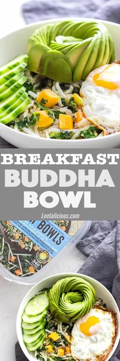 Start your day with easy and convenient wholesomeness! Egg and avocado on a bed of rice, kale and veggies make up this simple yet stunning and delicious Breakfast Buddha Bowl Recipe. #breakfast #avocado #buddhabowl #egg Healthy | Fried Eggs | Thai Style | Gluten Free | Brown Rice | Savory | Vegetarian | Warm