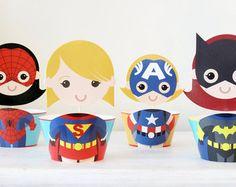 Superhero Girl Cupcake Toppers Superhero Girl Cupcake by KidzParty