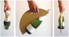 Дизайнер Valença Castells подготовила проект картонной упаковки для бутылки вина (игристого или шампанского). Упаковка изготовлена из трехслойного гофрокартона в виде круга или диска с тремя отверстиями: из двух складывается ручка, а во второе вставляется бутылка, и подходит она только для бутылок шампанских и игристых вин, имеющих на дне характерную параболическую впадину в которую вставляется нижняя часть упаковки. http://am.antech.ru/T3EC