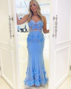 Junior Formal Dresses, Cheap Formal Dresses, Long Sleeve Evening Gowns, Prom Dresses Online, Mermaid Prom Dresses, Dress Collection, Looks Great, Spaghetti Straps, Light Blue