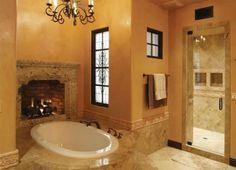 Badezimmer Designs mit Einbaukamine 2022