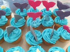 Shark and mermaid tail cupcakes