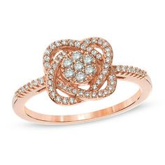 1/4 CT. T.W. Composite Diamond Knot Ring in 10K Rose Gold