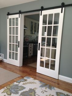 72 Antique Doors Look Even Better If Installed As Sliding – Farmhouse Room - 72 Antique Doors Look Even Better If Installed As Sliding – Farmhouse Room - Home, Farmhouse Room, Sliding French Doors, Interior Barn Doors, French Doors Interior, Home Remodeling, New Homes, House, House Interior