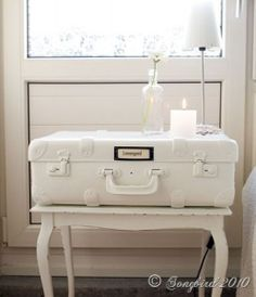 Love this #repurposed suitcase nightstand! #DIY