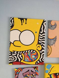 psychedelic art Bartodelics Bartodelics Carinaklinkenberg Neue kunst Bart Simpson X hand designed and painted in the uk by me Luke nbsp hellip Cute Canvas Paintings, Easy Canvas Art, Small Canvas Art, Mini Canvas Art, Easy Canvas Painting, Canvas Painting Designs, Simple Acrylic Paintings, Acrylic Canvas, Diy Canvas