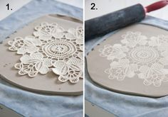 Make Your Own Lace Pottery Maggie Weldon Lace Pottery Using a rolling pin, roll out a slab of porcelain clay inch thick, making sure the slab is about 4 inches larger than the size of the doily to be used. Place the slab on a piece of cotton fabric. Diy Clay, Clay Crafts, Diy And Crafts, Arts And Crafts, Hand Built Pottery, Slab Pottery, Ceramic Pottery, Pottery Wheel, Pottery Tools