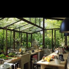 Glass-walled kitchen in the jungle. Concrete sink, tons of plants.