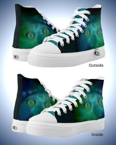 Unisex High Top Shoes with Scary Digital 'Moon Freak'
