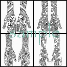 Bridal henna designs for inspiration. If you like the detailed stuff, this is it! There is a link for a free download as well. HennaArt.ca: Bridal Inspirations Volume 2