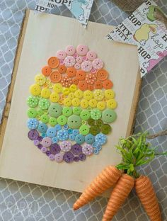 Different Size Button Egg Craft On Wood Pallet