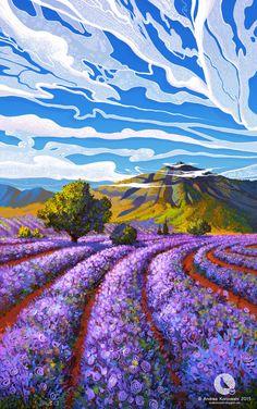 My last illustration of Photoshop Lavender Season Fantasy Landscape, Landscape Art, Landscape Paintings, Landscapes, Mountain Landscape, Watercolor Paintings, Japon Illustration, Landscape Illustration, Fantasy Kunst