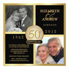 50th Wedding Anniversary Then Now Pictures Card