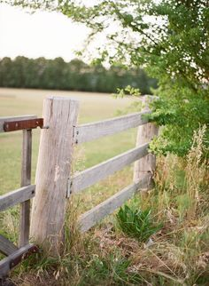 Weathered fence and field - country living.