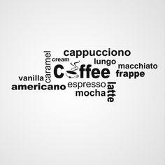 Koffie, Latte, muursjabloon muurtekst