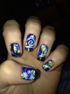 so cool van gogh nails!!