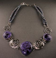 Unique, handmade sterling silver and pottery cabochon jewelry by JLK Jewelry