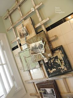 If I can't find an old wood ladder I might could do something like this for my quilts.